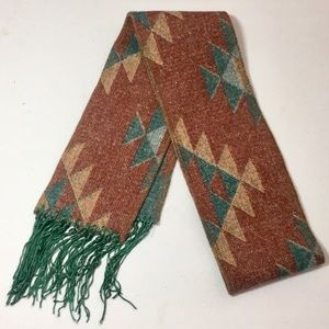Wool scarf with fringe - Reversible Tribal print